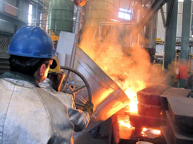 Melting metals at RP Metals foundry