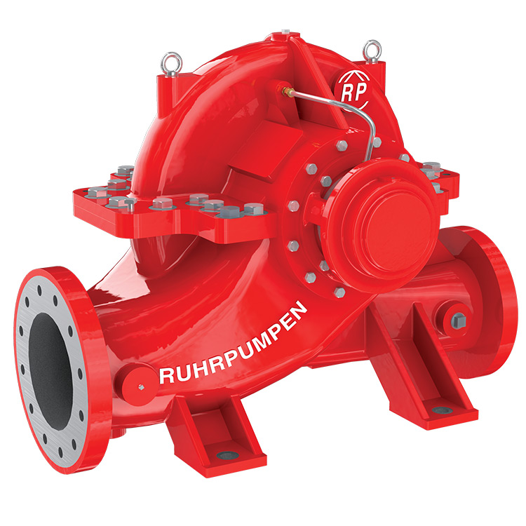 Horizontal split case fire pump by Ruhrpumpen