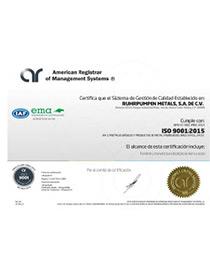 ISO 9001:2015 Ruhrpumpen Metals