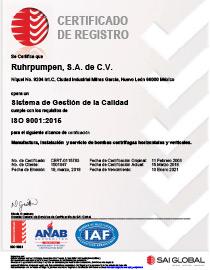 Certificado ISO 9001:2015 Mexico (RPSA)